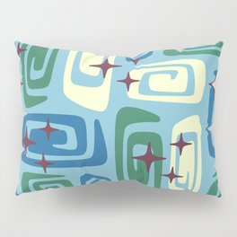 Mid Century Modern Cosmic Galaxies 728 Blue Green and Cream Pillow Sham