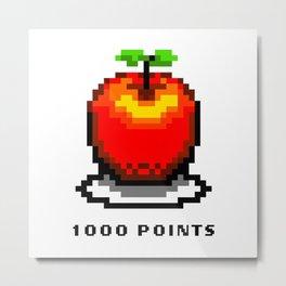Retro Video Game Pixel Art Apple 1000 Points Metal Print
