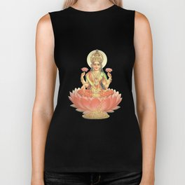 Lakshmi, Goddess of Love (Coral) Biker Tank