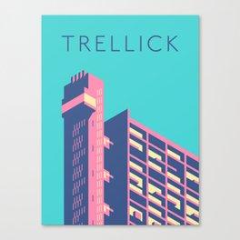 Trellick Tower London Brutalist Architecture - Text Sky Canvas Print
