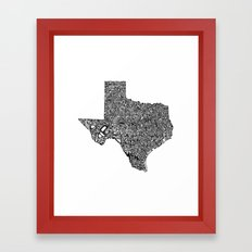 Typographic Texas Framed Art Print