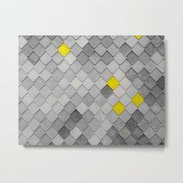 Yellow Tiles on monochromic background Metal Print