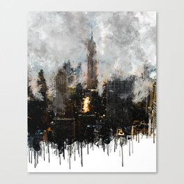 Cloudy New York City Skyline - Empire State Building - Watercolor ink painting effect Canvas Print