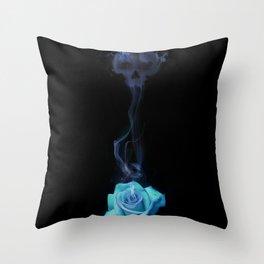 Pale Blue Rose - Smoke skull Throw Pillow