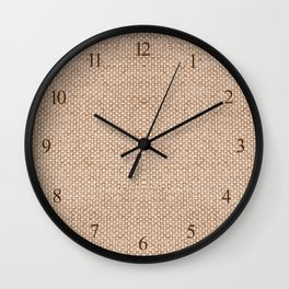 Beige flax cloth texture abstract Wall Clock