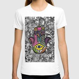 Colorful Hand Drawn Hamsa Hand an Floral Drawings T-shirt