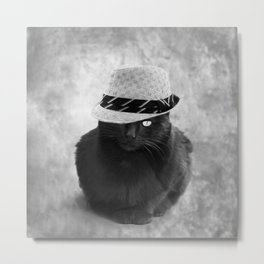 Cat with hat Metal Print