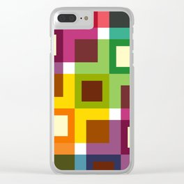 Geometric Pattern 11 (Colorful squares) Clear iPhone Case
