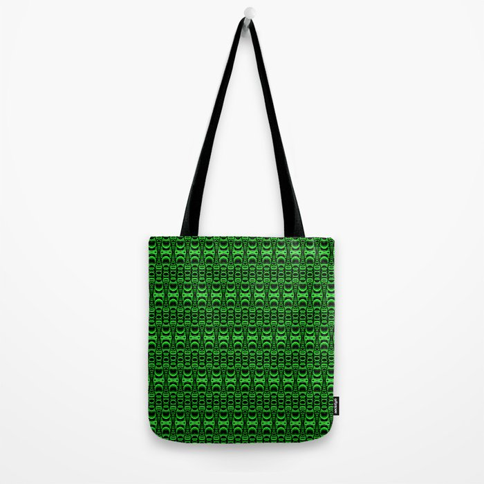 Dividers 07 in Green over Black Tote Bag
