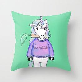 go vegan unicorn green Throw Pillow