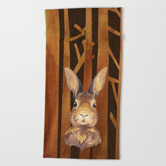 Rabbit in the forest- abstract animal hare watercolor illustration Beach Towel