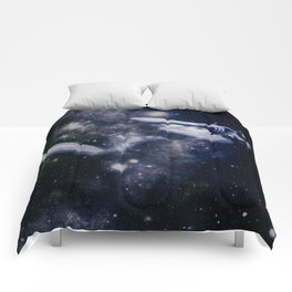 Deep Blue Galaxy Woman : Nude Art Comforters