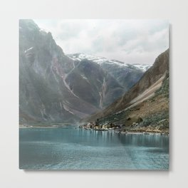Village by the Lake & Mountains Metal Print