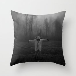 Scary Scarecrow In The Fog Throw Pillow