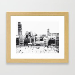 Woodward Avenue Downtown Detroit Black and White Print Framed Art Print