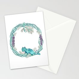 Squirrel and pinecorn wreath 03 Stationery Cards