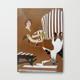 """C Coles Phillips """"Lady and Collie"""" Fadeaway Girl Metal Print"""