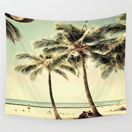 Retro Vintage Palm Tree with Hawaii Summer Sea Beach Wall Tapestry