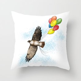 Hawk on his way to a party   Color Throw Pillow
