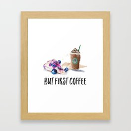 But first coffee watercolor stylish Framed Art Print