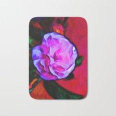 Pink Flower and a Green Leaf Bath Mat
