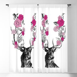 The Stag and Roses | Deer and Flowers | Pink | Vintage Stag | Vintage Deer | Antlers | Woodland | Blackout Curtain