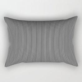 Midnight Black and White Vertical Sailor Stripes Rectangular Pillow