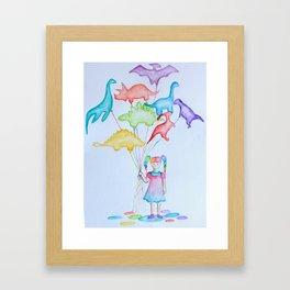 Dino Balloons Framed Art Print