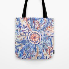 Boho Flower Burst in Red and Blue Tote Bag