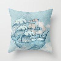 ship Throw Pillows featuring Ship by De Assuncao création