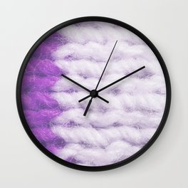 Violet White Wool Knitting Texture Wall Clock