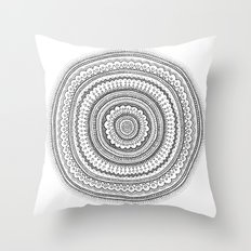 Carousel in B&W Throw Pillow