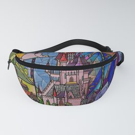 ROMANCE BEAUTY AND THE BEAST Castle Stained Glass Fanny Pack