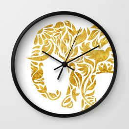 Floral Elephant in Gold Wall Clock