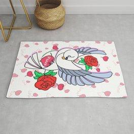 Cute Pigeon Flying - Peace & Love Rug