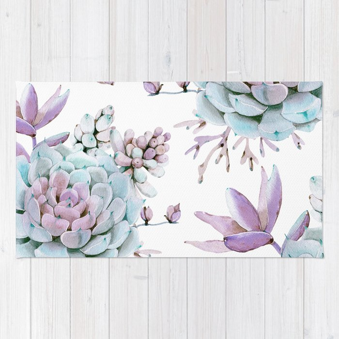 Turquoise and Violet Succulents Rug