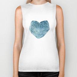 Heart Graphic Watercolor Blue Biker Tank