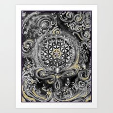 Manipura°^Golden Waves in Snowy Space Art Print