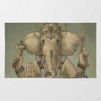 ganesha Area & Throw Rugs featuring Ganesha by Sumi Senthi