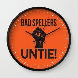 BAD SPELLERS UNTIE! (Orange) Wall Clock