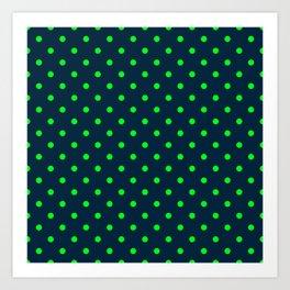 Navy and Neon Lime Green Polka Dots Art Print