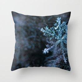 Winter Photography - Ice Crystal Falling Throw Pillow