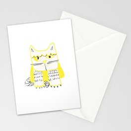 Yellow Black Cat Doodle Stationery Cards