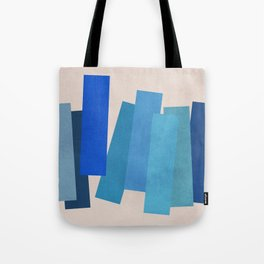 Block Printed Cool Tones • Expressionism • Geometric abstraction • Modern abstract art • Colorblock Tote Bag