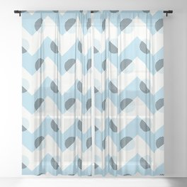 Horizons Geometric Mountain Waves Design 11 - Turquoise Blue Sheer Curtain