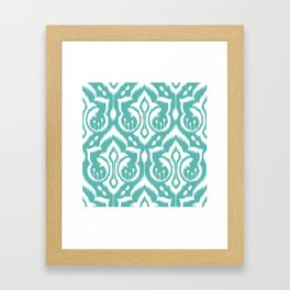 Ikat Damask Aqua Framed Art Print