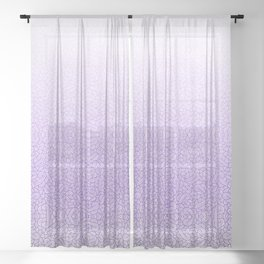 Gradient purple and white swirls doodles Sheer Curtain
