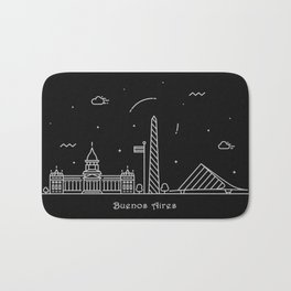 Buenos Aires Minimal Nightscape / Skyline Drawing Bath Mat