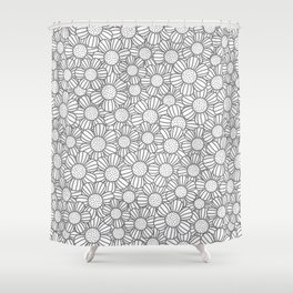 Field of daisies - gray Shower Curtain