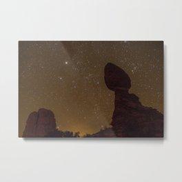 The Night Sky at Balanced Rock Metal Print